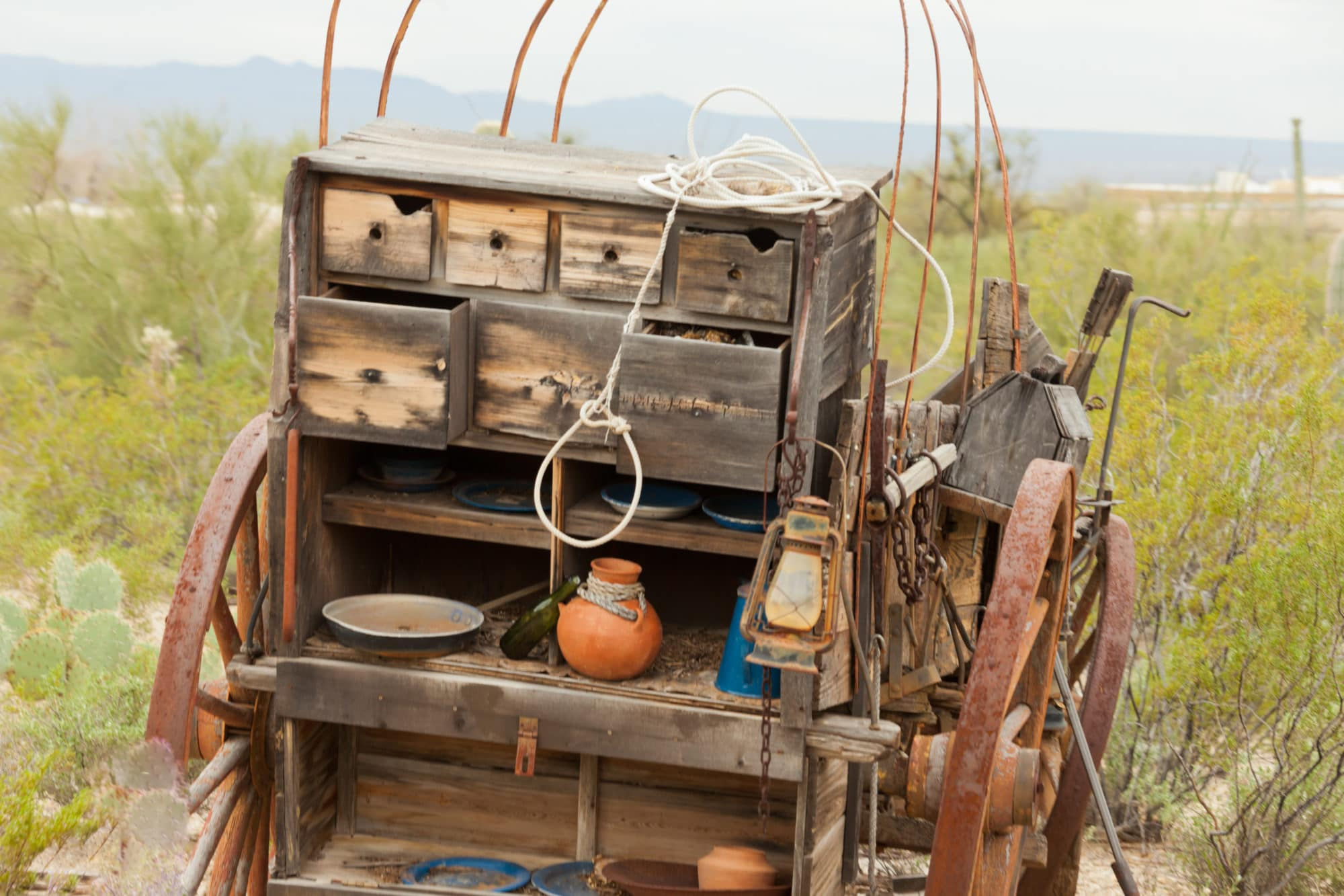 Vintage Western Pioneer Chuck Wagon and Mobile Kitchen