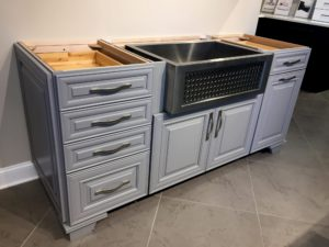 Gorgeous modern gray farm kitchen base cabinets with beautiful stainless farm sink