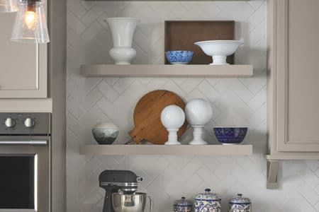 Sierra Remodeling will install Aristokraft floating shelves in your new kitchen remodel