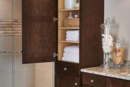 Add additional storage into your new Sierra Remodeling bathroom remodel with an Aristokraft linen closet cabinet