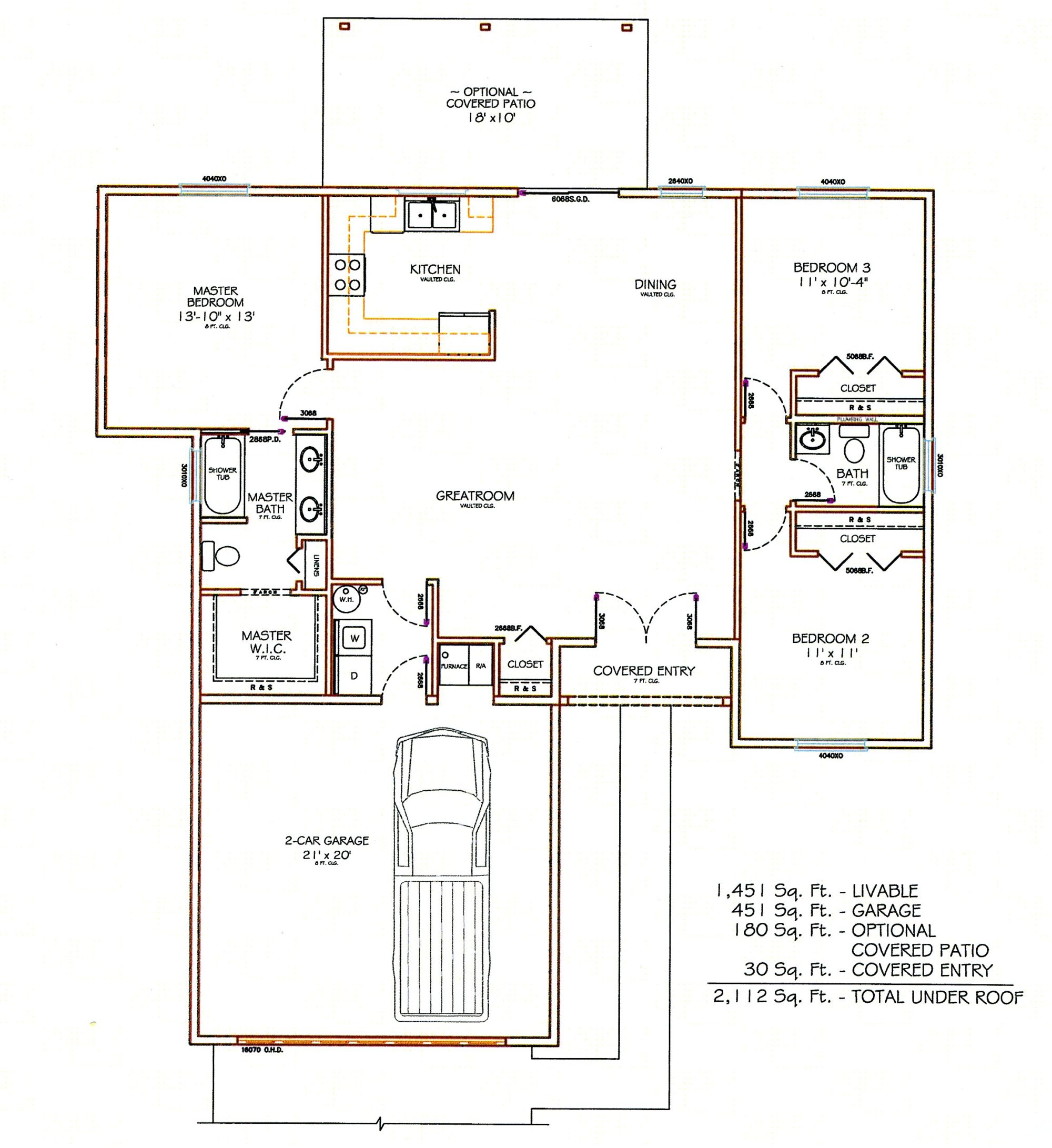 Sierra Remodeling Custom Home Model 1451 floor plan