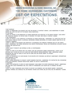 Sierra Remodeling - The Home Remodeling Customers LIST OF EXPECTATIONS