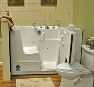 Sierra Remodeling bathroom upgrade added new slide in tub
