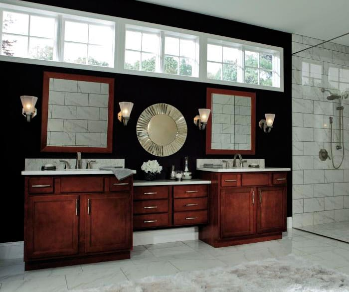 Aristokraft birch cabinets in casual bathroom sierra for J kitchen sierra vista menu