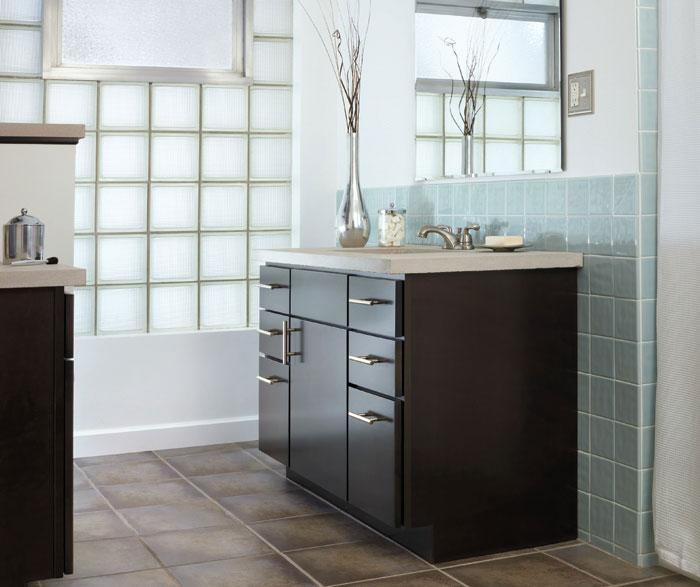 Aristokraft Dark Wood Cabinet In Contemporary Bathroom