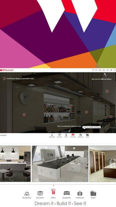 Wilsonart Visualizer app homepage