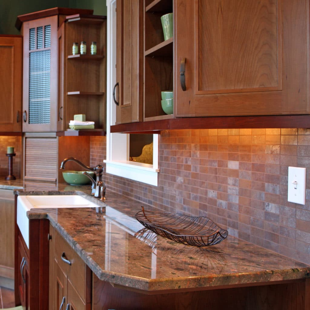 Beautiful granite countertops in a luxury kitchen.